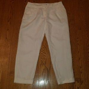 NEW LOFT white linen cropped summer pants 6